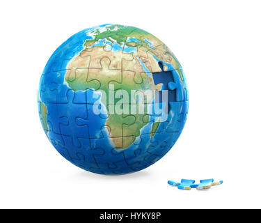 Puzzle Planet Earth - Stock Photo