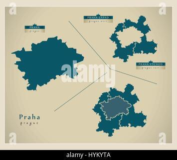 Modern Map - Praha CZ - Stock Photo