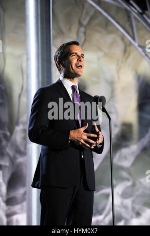 Los Angeles Mayor Eric Garcetti at the Special Olympics World Games Opening Ceremony at the Coliseum on July 25th, - Stock Photo