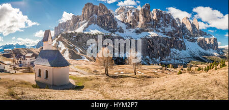 Panorama of small church in Dolomites, Italy, Europe - Stock Photo