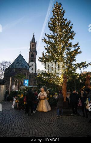 at the traditional Christmas markets of Bolzano, in Italy. - Stock Photo