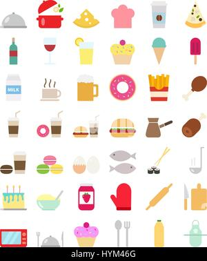 Cooking foods icons set in flat style - Stock Photo