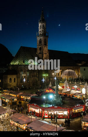 An aerial view of the traditional Christmas markets of Bolzano, in Italy. - Stock Photo