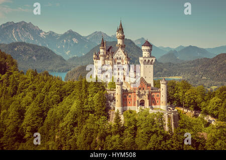 Beautiful view of famous Neuschwanstein Castle, the 19th century Romanesque Revival palace built for King Ludwig - Stock Photo