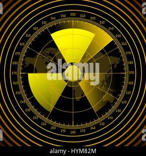 Radar screen with radioactive sign - Stock Photo