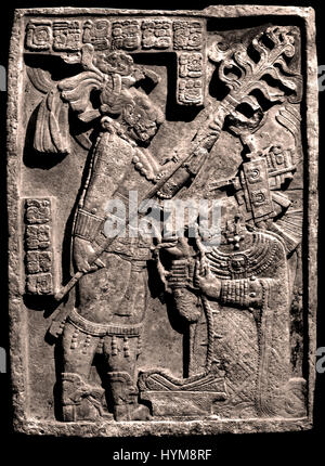 The Yaxchilan Lintels - Lintel 24 Bloodletting ritual performed by the king of Yaxchilan, Shield Jaguar II and his - Stock Photo