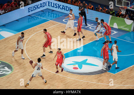 Vitoria, Spain - February 19, 2017: Some basketball players in action at Spanish Copa del rey final match between - Stock Photo