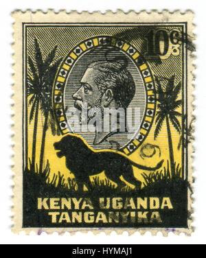 GOMEL, BELARUS, APRIL 3, 2017. Stamp printed in Kenya shows image of the George V (George Frederick Ernest Albert) - Stock Photo