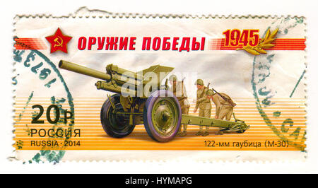 GOMEL, BELARUS, APRIL 5, 2017. Stamp printed in Russia shows image of  The 122 mm howitzer M1938 (M-30) was a Soviet - Stock Photo
