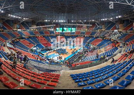 Vitoria, Spain - February 19, 2017: Fernando Buesa arena basketball stadium, is the home stadium of Tau Baskonia - Stock Photo