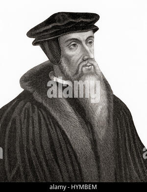 John Calvin, born Jehan Cauvin,1509 - 1564.  French theologian, pastor and reformer during the Protestant Reformation - Stock Photo