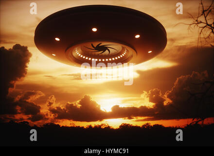 3D illustration with photography. Alien spaceship under the sunset. - Stock Photo