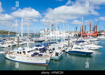 Falmouth cornwall Yachts and small boats in Port Pendennis Marina at  Falmouth Cornwall England West Country UK - Stock Photo