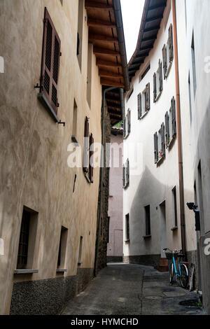 Typical street at Riva San Vitale (Ticino, Switzerland), along the Lake of Lugano (Ceresio). - Stock Photo