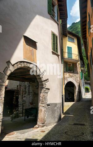 Typical street of Melano (Ticino, Switzerland), along the Lake of Lugano (Ceresio). - Stock Photo