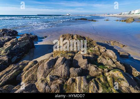 Rocks on the beach of Nevogilde civil parish in Porto, second largest city in Portugal - Stock Photo