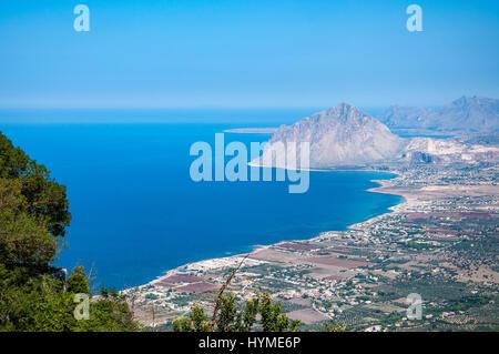 Aerial view of Cofano mount and the Tyrrhenian coastline from Erice, Sicily, Italy. - Stock Photo