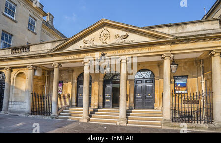 United Kingdom, Somerset, Bath, South Colonnade of the Grand Pump Room at the Roman Bath - Stock Photo