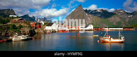 Reine fishing village, Hamnoy, Moskenes, Lofoten Islands, Norway - Stock Photo