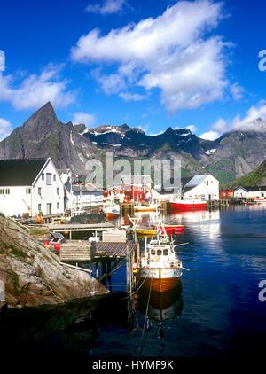Reine village, Hamnoy, Moskenes, Lofoten Islands, Norway - Stock Photo