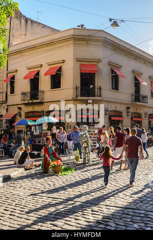 Buenos Aires, Argentina - October 30, 2016: Street artists in San Telmo in Buenos Aires during the market - Stock Photo