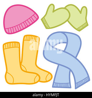 Winter clothing comic icons - colorful cloths for cold weather - pink woolen cap, green mittens, orange socks and - Stock Photo