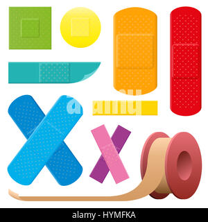 Adhesive plaster set - colorful collection of medical first aid objects - isolated illustration on white background. - Stock Photo