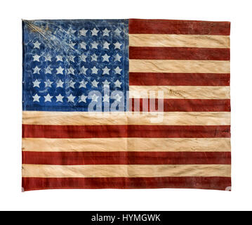 American 'Stars and Stripes' WW2 liberation flag believed to have been flown from a house near Bayeux in Normandy, - Stock Photo