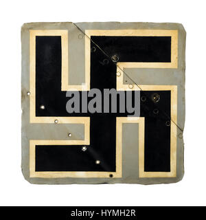 Part of a WW2 German Luftwaffe Focke Wulf 190 aircraft tail fin featuring a large Swastika. This aircraft was shot - Stock Photo