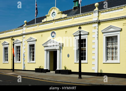 The Town Hall, built 1779, originally the courthouse and gaol, Carrickfergus, County Antrim, Northern Ireland, UK - Stock Photo