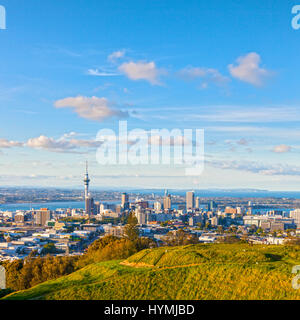 Auckland, New Zealand, from the volcano Mount Eden, the crater rim is in the foreground. - Stock Photo