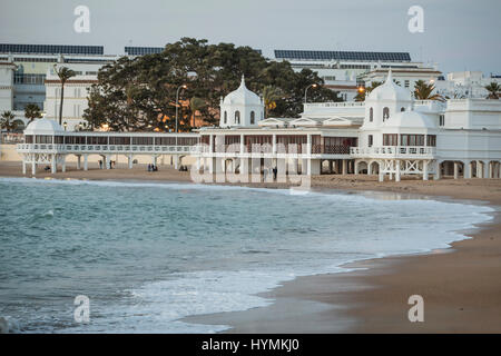 Cadiz Spain- March 31: Caleta beach in the middle of the old city is the most popular of the beaches of Cadiz, Andalusia, - Stock Photo