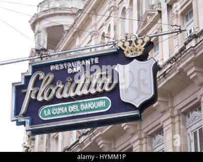 Old restaurant sign of El Floridita bar in Old Havana (La Habana Vieja), Cuba - Stock Photo