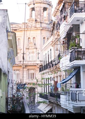 Classic old colonial style apartment building in Old Havana, Cuba - Stock Photo