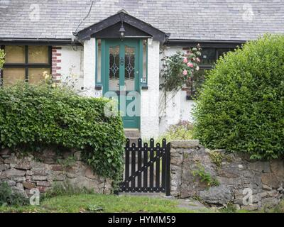 Traditional Irish house, and green door in Greystone, County Wicklow, Ireland - Stock Photo