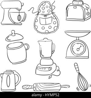 Doodle of food set hand draw vector art stock vector art for Kitchen set drawing