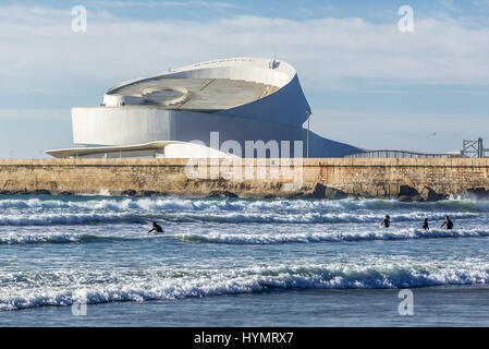 Port of Leixoes new Cruise Terminal building seen from beach in Matosinhos city, bordered with Porto, part of Grande - Stock Photo