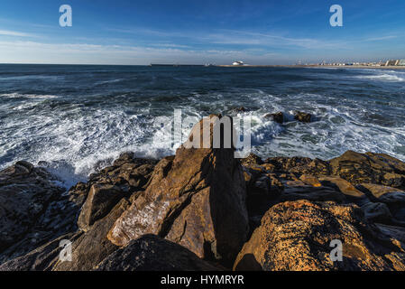 Atlantic Ocean seen from shore of Nevogilde civil parish in Porto, second largest city in Portugal - Stock Photo