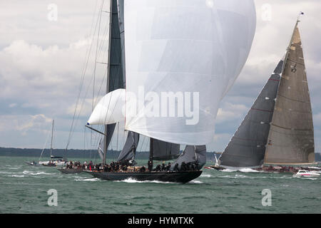 J-Class yacht 'Lionheart' (H1) leads 'Rainbow' (H2) at the beginning of the first run in Race 2 of the J Class Solent - Stock Photo