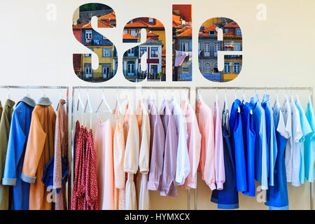 sale fashionable clothes for famous and textural letters - Stock Photo