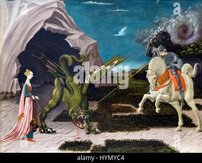 St George and the Dragon. Painting entiltled 'Saint George and the Dragon' by Paolo Uccello (1397-1475), oil on - Stock Photo