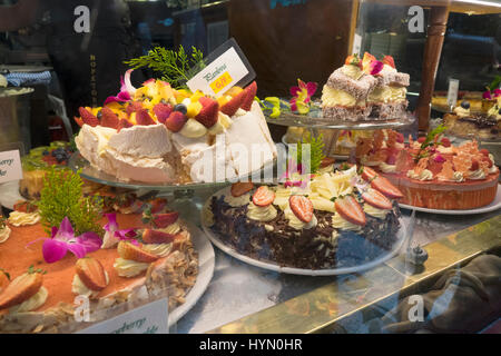 Delicious Cakes For Sale In The Window Display Of The Hopetoun Tea Rooms In The Block Arcade Melbourne Australia - Stock Photo