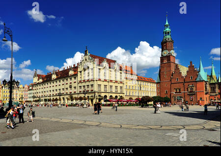 architecture, breslau, wroclaw, dolny slask, city, cityscape, clock, downtown, eu, europe, european, exterior, facade, - Stock Photo