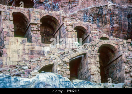 Petra originally known to the Nabataeans as Raqmu, is a historical and archaeological city in southern Jordan. The - Stock Photo