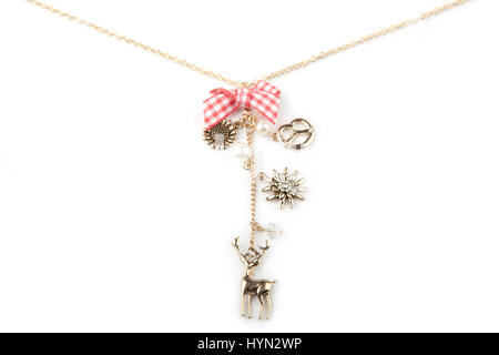 Lucky charm necklace, isolated on white - Stock Photo