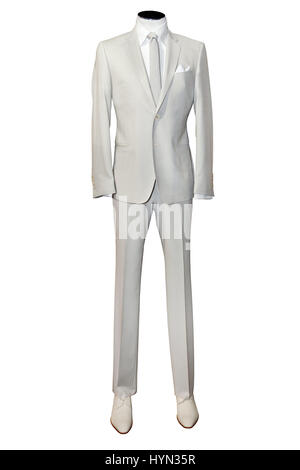 Beige suite on mannequin isolated on white - Stock Photo