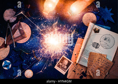 Astronomy still life with sparkling tiny supernova - Stock Photo