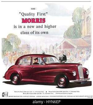 1950 British advertisement for Morris motor cars. - Stock Photo