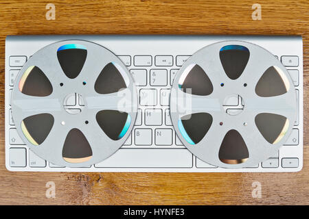 Keyboard and CD top view - Stock Photo