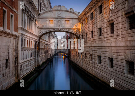 VENICE, ITALY - CIRCA MAY 2015: Bridge of Sighs at dusk in San Marco, Venice. - Stock Photo